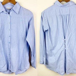 CAbi Button Back Oxford Long Sleeve Pintuck Shirt
